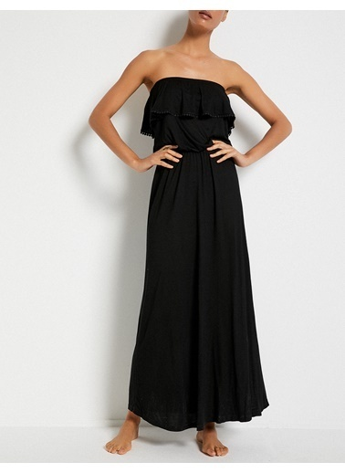 Koton Uzun Straplez Elbise Siyah